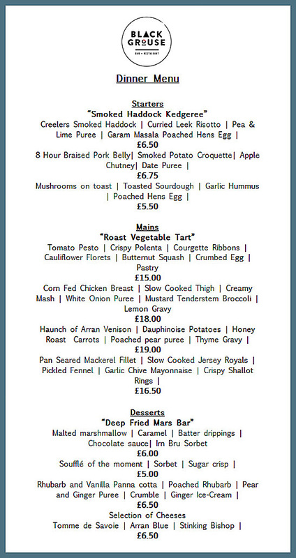 Black Grouse restaurant Arran dinner menu